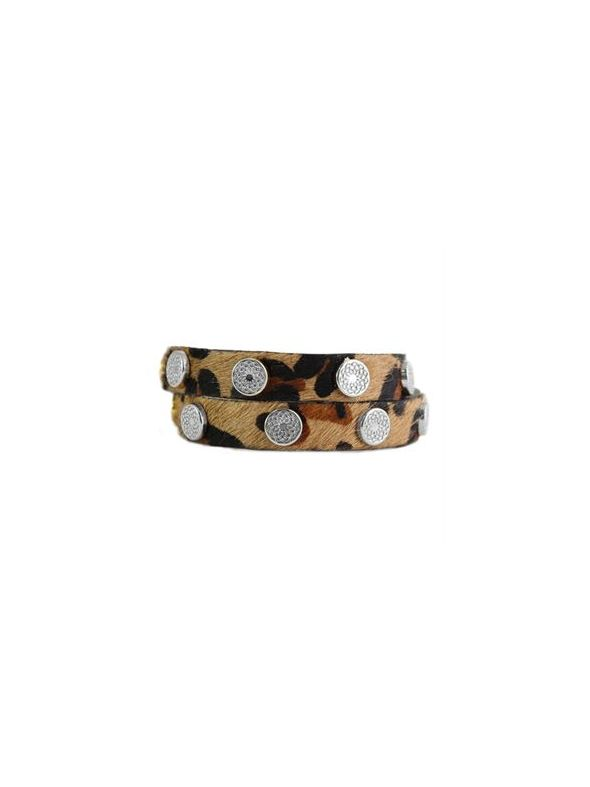 Leopard Leather Wrap with Silver Studs