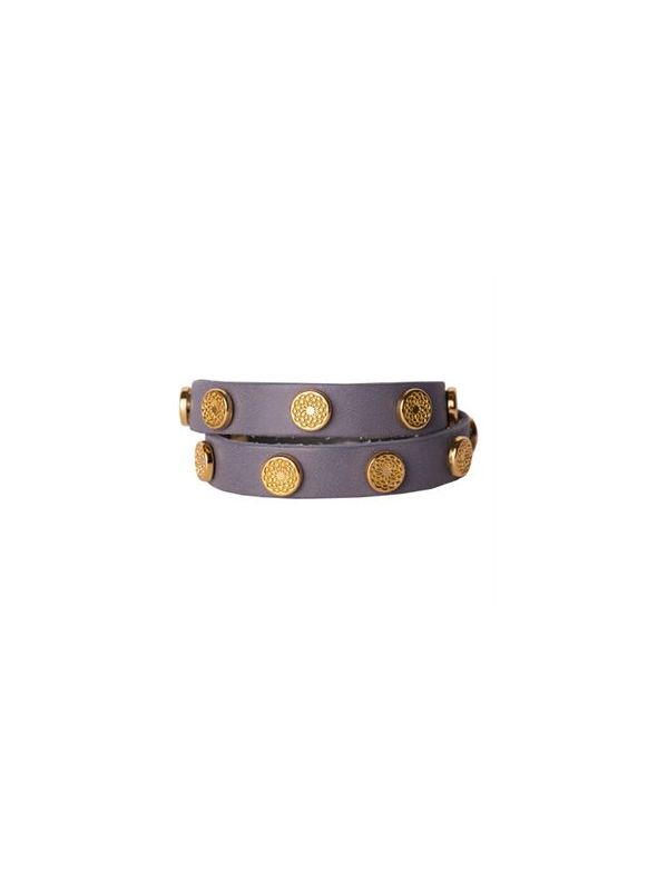 Silver Leather Wrap with Gold Studs
