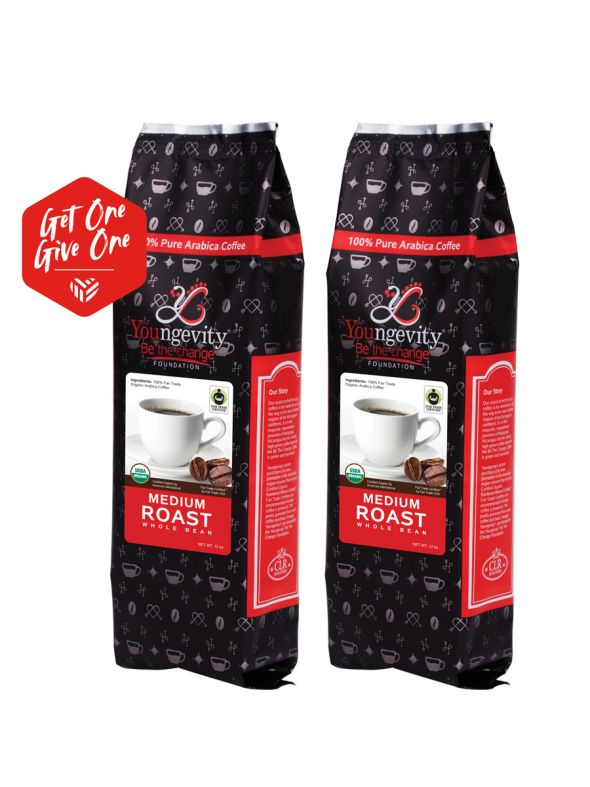 Be The Change Coffee - Fair Trade Organic Original Medium Roast - Whole Bean (12oz) [QTY: 2   Get One, Give One FREE]